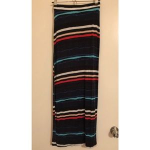 Horizontal Striped Maxi Skirt